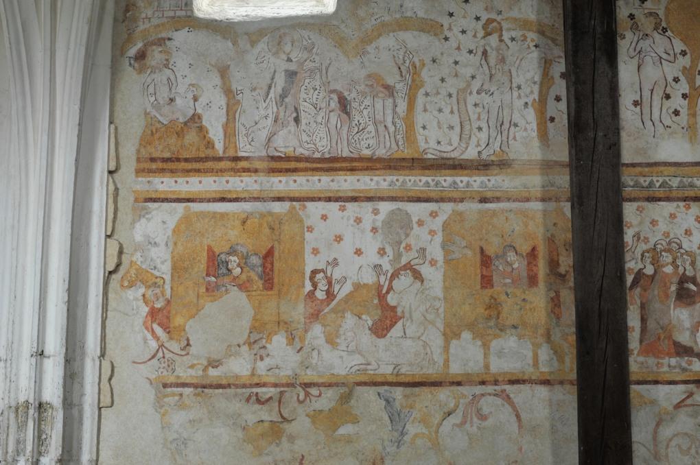 Moutiers-en-Puisaye - Peintures murales (fin du XIIIe siècle) : épisodes de la Genèse