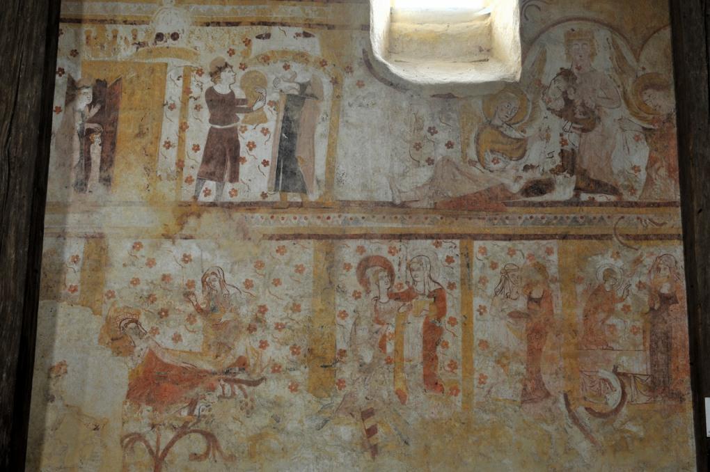 Moutiers-en -Puisaye - Peintures murales (fin du XIIIe siècle) : scènes de la vie du Christ et de la Vierge : Visitation, Nativité...