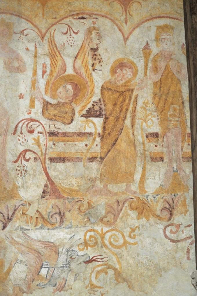 Moutiers-en-Puisaye - Peintures murales romanes (XIIe siècle) : 1ère travée mur sud : scène d'adoration avec anges thuriféraires (XIIe siècle)
