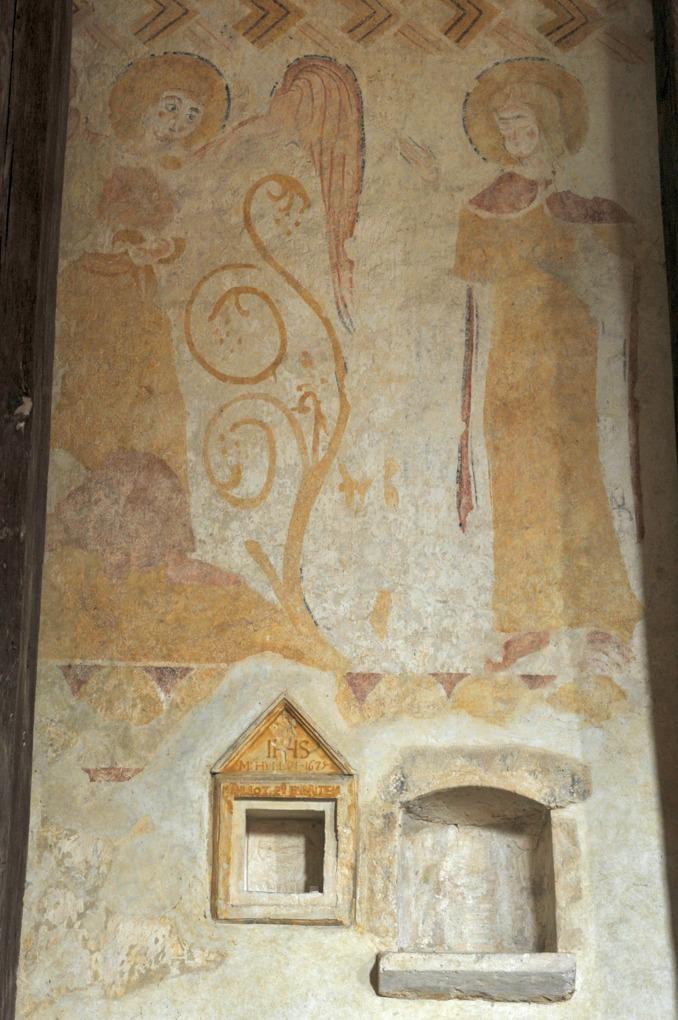 Moutiers-en-Puisaye - Peinture murale mur nord : l'Annonciation (XIIe siècle)
