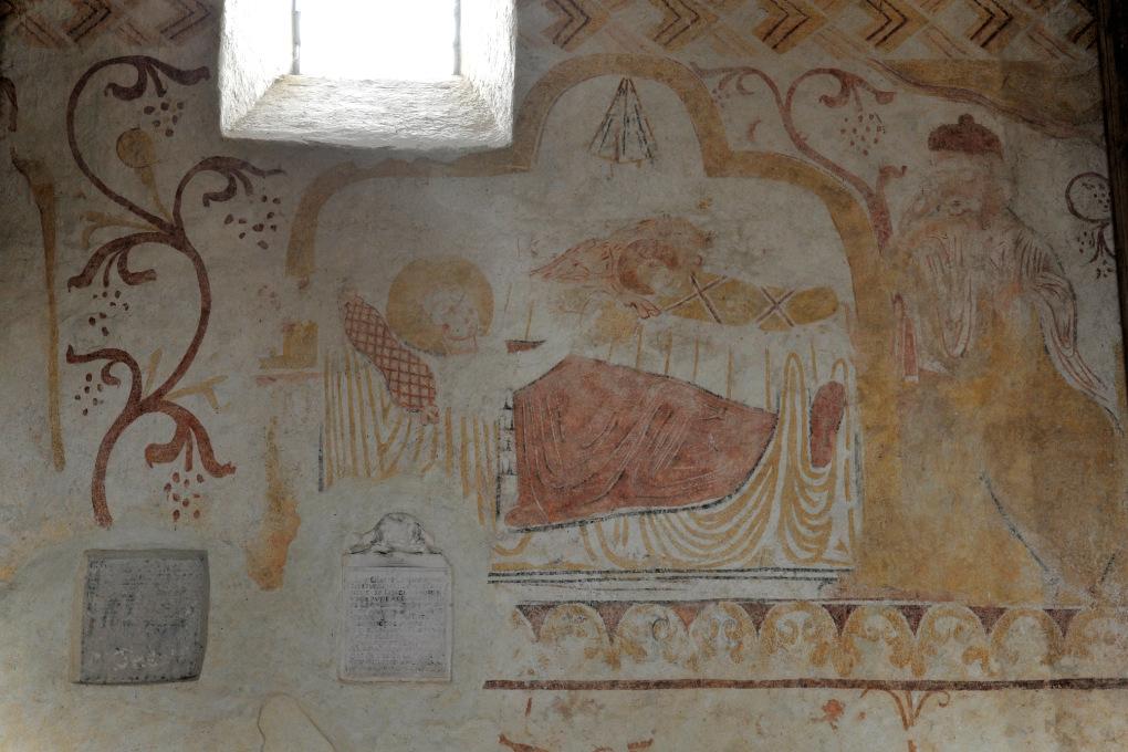 Moutiers-en-Puisaye - Peinture murale - mur nord : la Nativité (XIIe siècle)