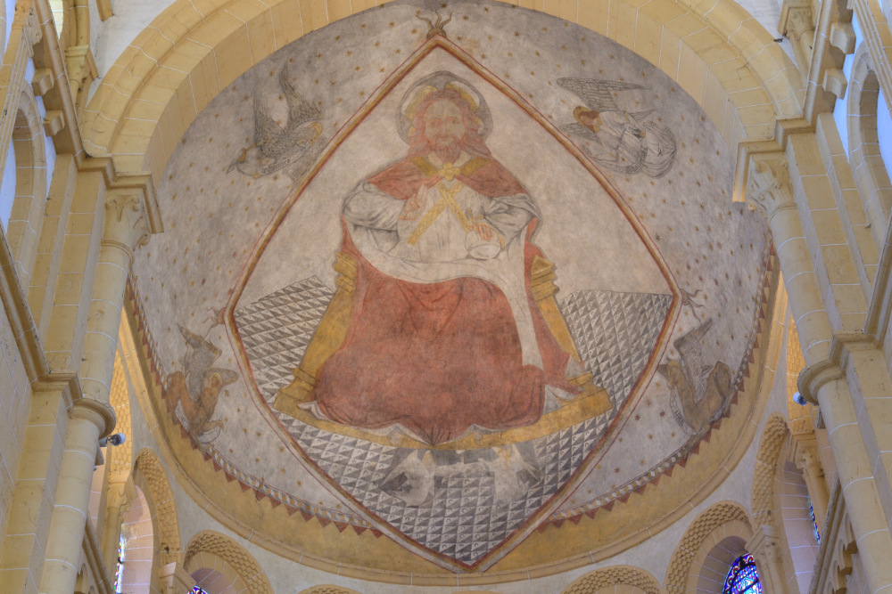 Paray-le-Monial-Basilique-peinture murale de l'abside (v. 1300)