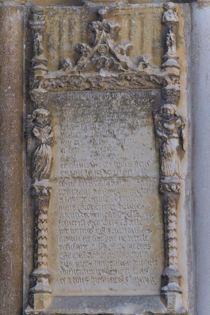 Saint-Père-sous-Vézelay - Inscription en moyen français appelant à la générosité des donateurs en faveur de l'édifice (XVe s.)