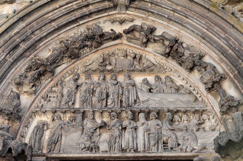 Semur-en-Auxois - Collégiale Notre-Dame (XIIIe siècle) - Portail des Bleds (v. 1250-1260) : le tympan