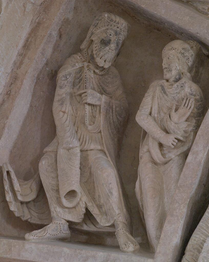 Vézelay - Abbatiale - Tympan central - caisson : les juifs (v. 1130)