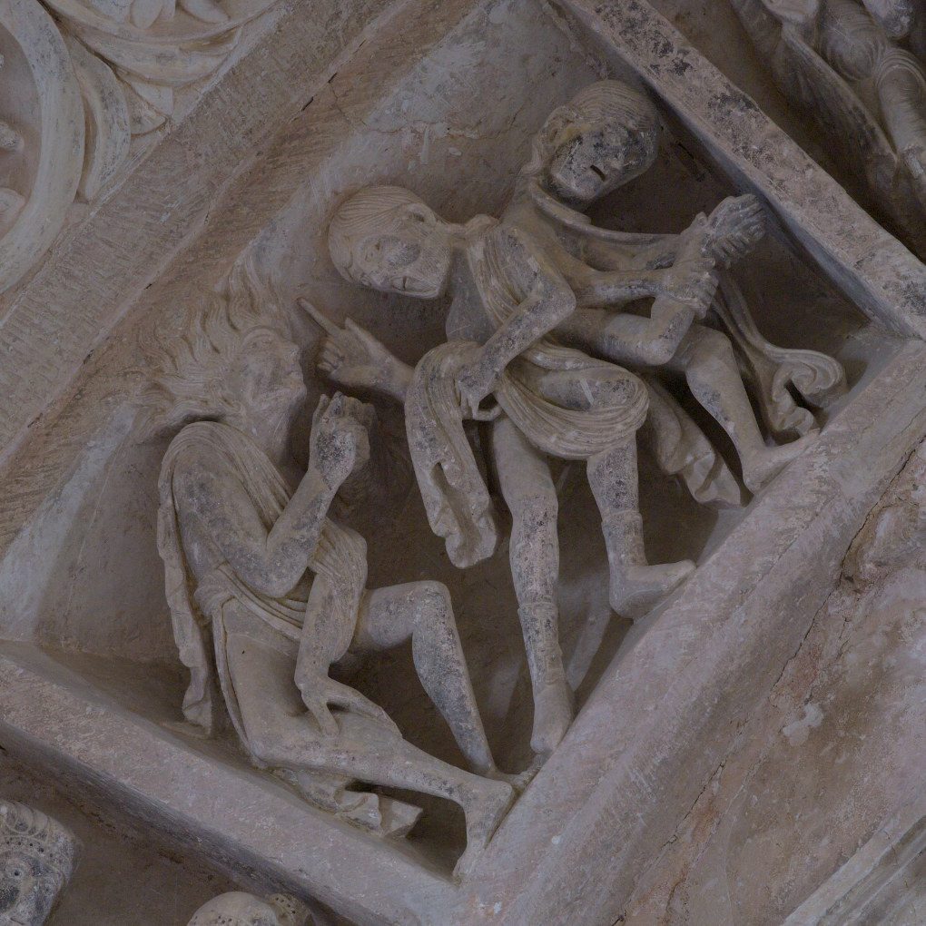 Vézelay - Abbatiale - Tympan central - caisson : possédés (affectés de maladies ?) : v. 1130