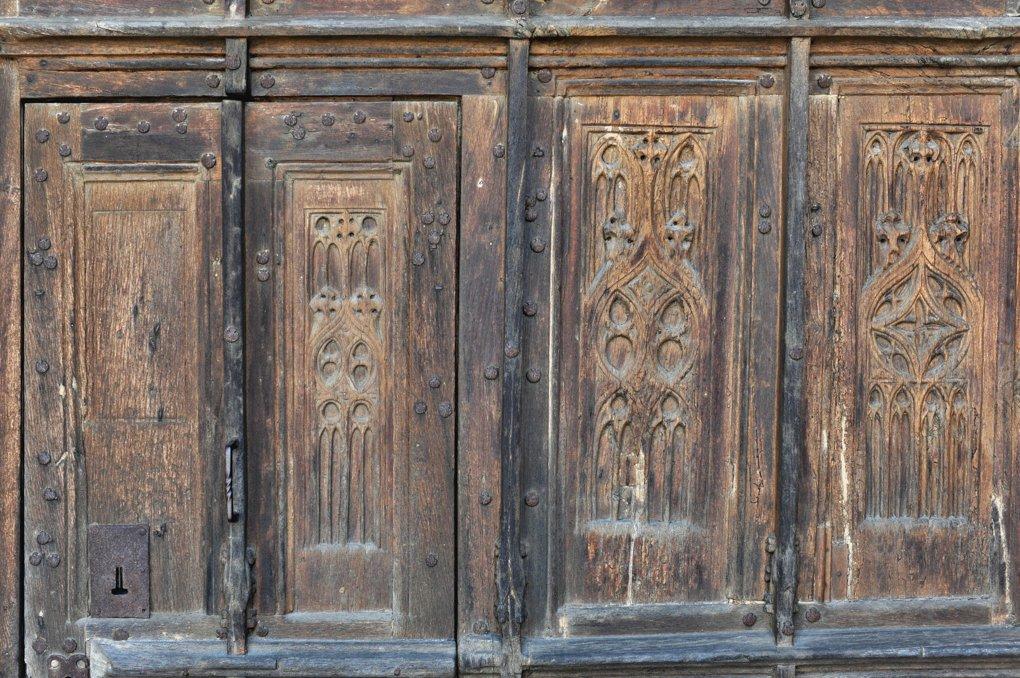 Vitteaux - Eglise Saint-Germain (XIIe-XVIe siècle) - vantaux du portail occidental (XVe siècle) : détail