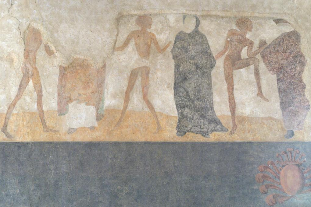 Brianny - Chapelle Sainte-Apolline (XVe s.) - la Danse macabre : le moine noir et le bailli (?)