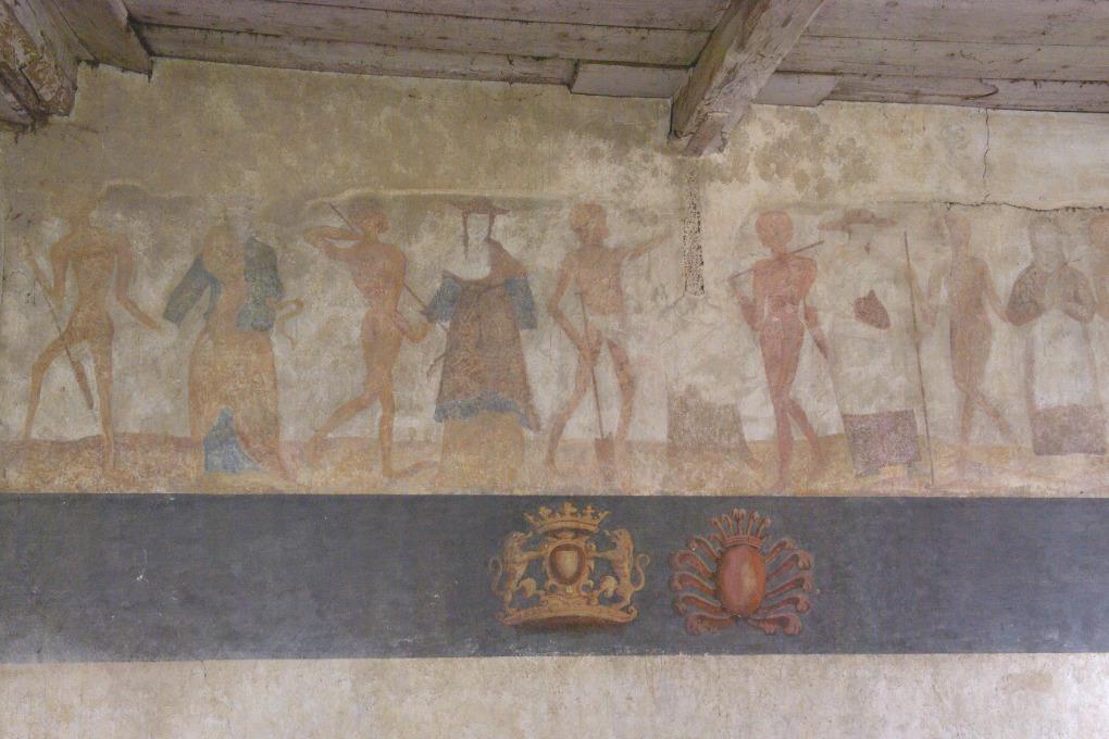 Brianny - Chapelle Sainte-Apolline (XVe s.) - la Danse macabre : mur des hommes