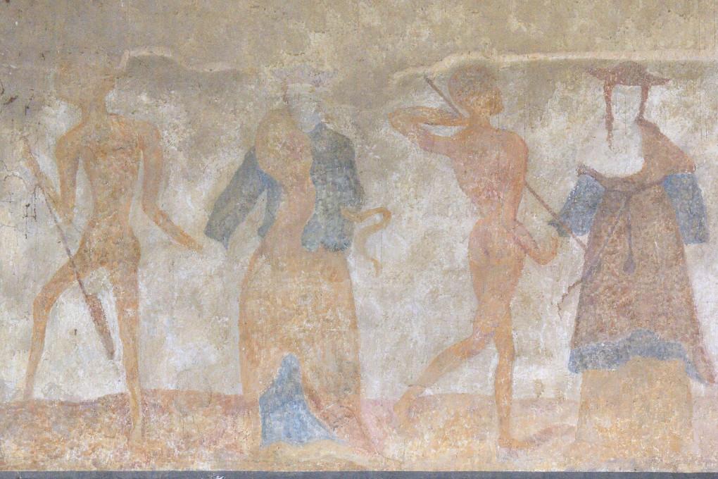 Brianny - Chapelle Sainte-Apolline (XVe s.) - la Danse macabre - mur des hommes : l'empereur et le cardinal