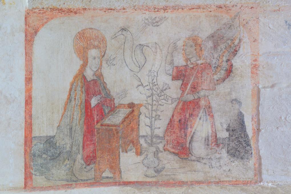 Chassignelles - Eglise Saint-Jean-Baptiste (XIIe-XVe s.) : peintures murales (l'Annonciation, fin du XVe s.)