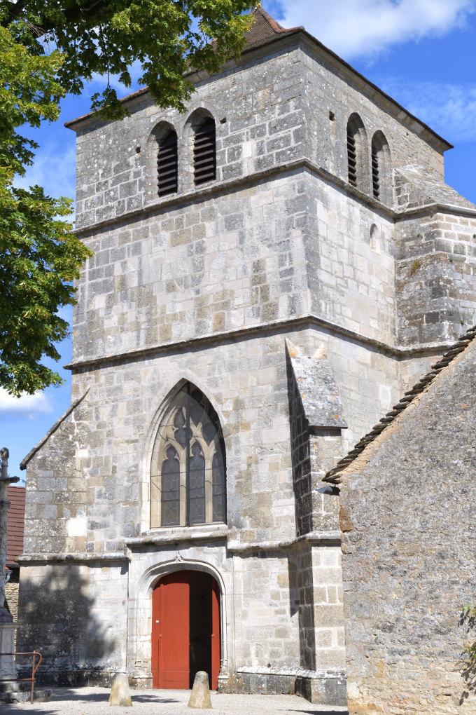 Saint-Romain - Eglise Saint-Romain (fin du XVe s.) : la tour-porche gothique