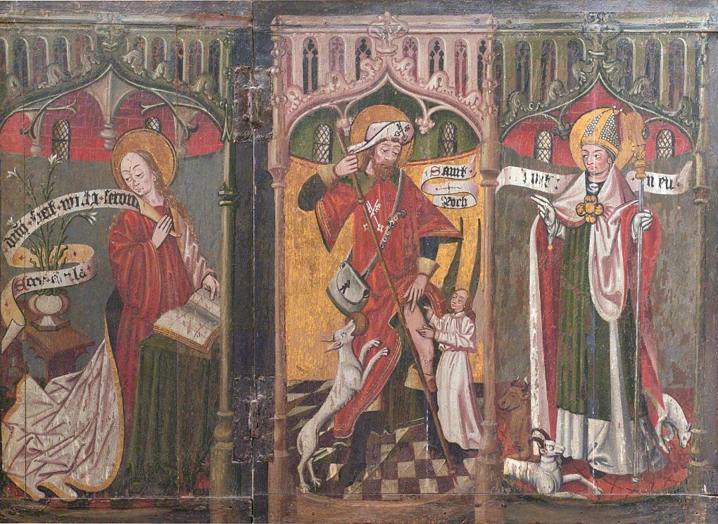 Saint-Bris-le-Vineux - église Saint-Prix-et-Saint-Cot (XIIIe-XVIe s.) : triptyque du XIVe siècle (l'Annonciation, saint Roch, un évêque)
